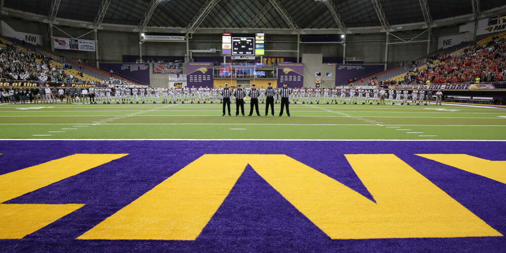 Wide shot of the UNI Unidome during a football game