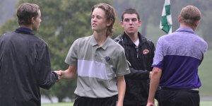 Shaking hands at a golf meet