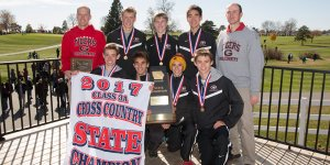 IHSAA 2017 3A XC State Champions posing for a photo