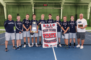 2019 Class 1A Team Tennis from Xavier posing for a picture