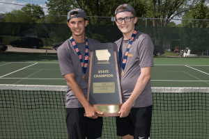2019 Doubles Tennis Class 2A State Champions posing for a photo