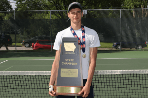 IHSAA State Champion Singles Tennis Class 2A posing for a picture