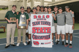 The 2019 Class 2A Team Tennis State Champions posing for a photo