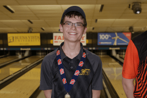 IHSAA Bowling Champion posing for a photo