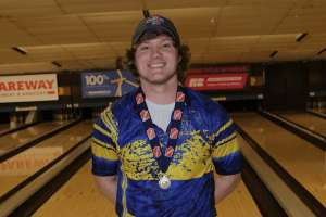 Bowling champion posing for a photo