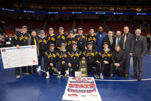 IHSAA Class 3A Wrestling champions posing for a picture