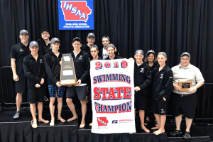 2019 Swimming State Champions posing for a picture
