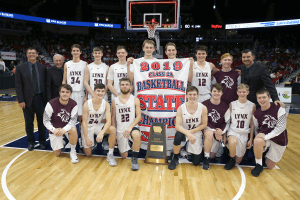 IHSAA 2A 2019 Basketball champions posing for a picture