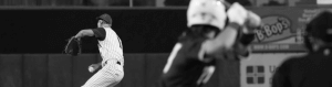 Black and white image of a player during a baseball game