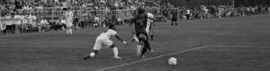Black and white image of a soccer game