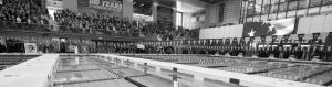 Black and white image of the University of Iowa swimming pools