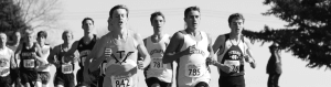 High school students running during an XC meet