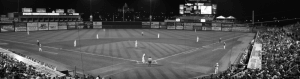 Wide shot of a baseball field shot in black and white