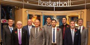 Shot of former basketball players at the IHSAA Hall of Fame