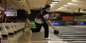 Throwing the ball during a bowling match