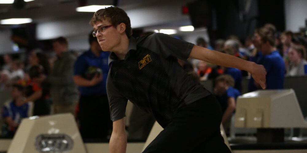 Shot of a high school student during a bowling match
