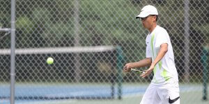 Ball in mid air during a tennis match