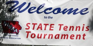 Poster outside of the IHSAA State Tennis Tournament
