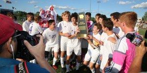 Soccer state champions celebrating