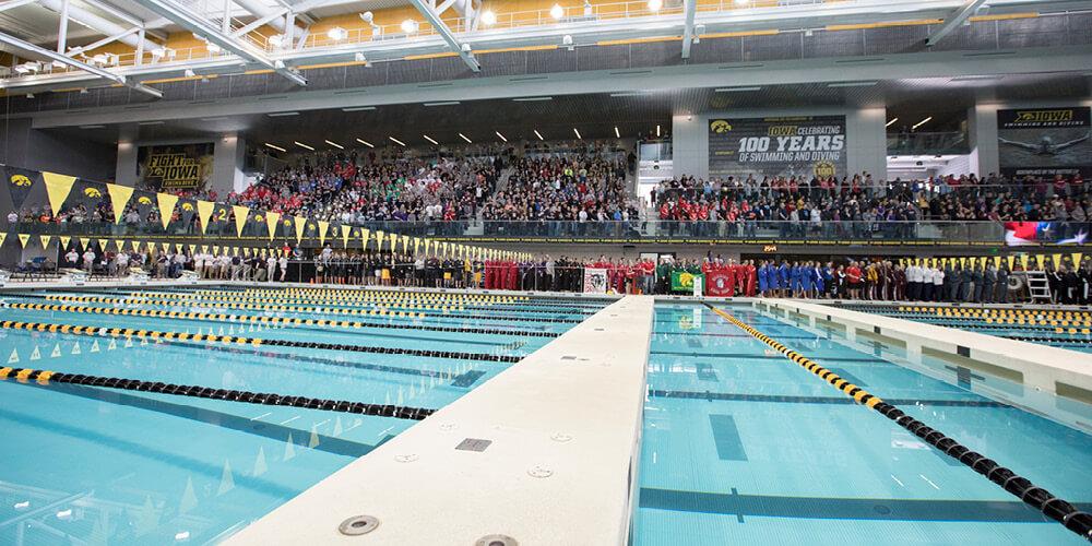 Wide shot of the University of Iowa swimming pools