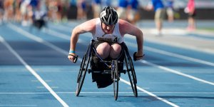 Image of a student in a wheelchair participating in an IHSAA event