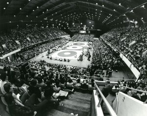 View of a wrestling tournament