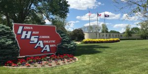 Close up image of the IHSAA sign outside of the HQ