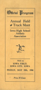 IHSAA brochure for first ever Track and Field meet