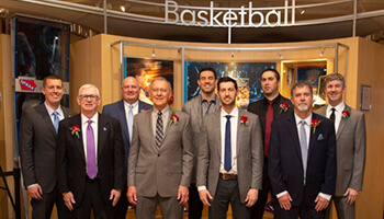 Image of a group in front of the IHSAA Basketball Hall of Fame