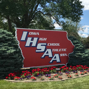 View of the Iowa High School Athletic Association Hall yard sign